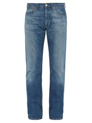 Bless Back Leg Zip Cotton Jeans Indigo