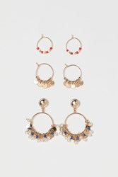 Handm H M 3 Pairs Hoop Earrings Gold