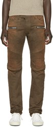Balmain Brown Faded Biker Jeans
