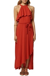 O'neill Misty Ruffle Asymmetrical Maxi Dress Tabasco
