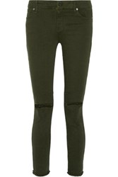 Rta Prince Low Rise Distressed Skinny Jeans Army Green