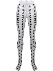 Thom Browne Sailboat Icon Intarsia Tights White