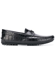 Emporio Armani Printed Leather Driving Shoes Black