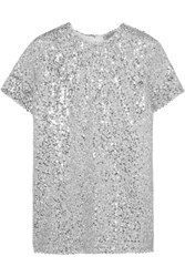 Nina Ricci Sequined Voile Top Silver
