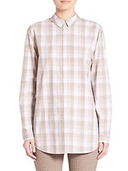 Lafayette 148 New York Cultivated Check Shirting Sabira Blouse Mercury