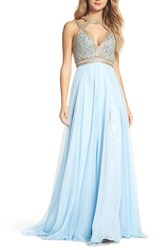 Mac Duggal 'S Beaded Cutout Bodice Gown Ice Blue
