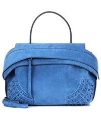 Tod's Wave Small Suede Tote Blue