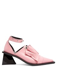 Marques Almeida Leather Frill Lace Up Pumps Pink