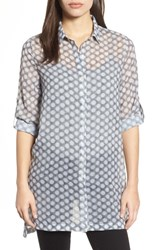 Kenneth Cole 'S New York Button Tab Tunic Shirt Frosty Dot