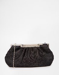 Lotus Lace Overlay Clutch Bag Blacksatinmesh