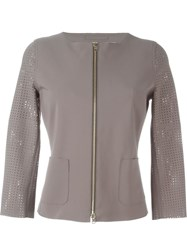 Herno Perforated Sleeves Jacket Grey