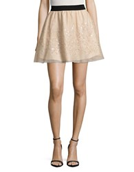 Necessary Objects Sequined Mesh Skirt Beige