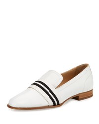 Rag And Bone Amber Striped Web Leather Loafer White