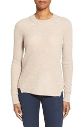 Women's White Warren Thermal Knit Crewneck Cashmere Sweater Flax Heather