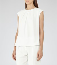 Reiss Livia Womens Button Back Top In White