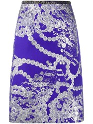 Dries Van Noten Printed Pencil Skirt Pink And Purple
