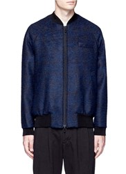 Song For The Mute Virgin Wool Alpaca Boucle Bomber Jacket Blue