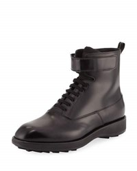 Prada Leather Lace Up Combat Boot Black