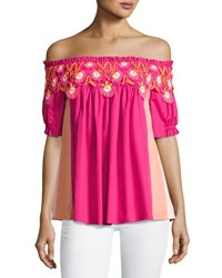 Peter Pilotto Paneled Off The Shoulder Lace Trim Top Pink