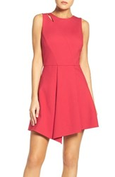 Adelyn Rae Women's Asymmetrical Ponte Fit And Flare Dress Berry