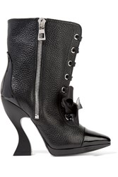 Loewe Patent Trimmed Textured Leather Boots Black