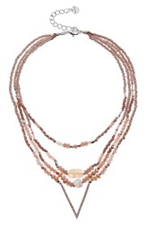 Nakamol Design Crystal And Freshwater Pearl Multistrand Pendant Necklace Nude