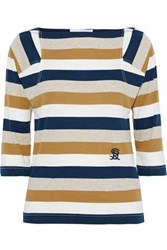 Sonia Rykiel Woman Embroidered Striped Cotton Jersey Top Multicolor