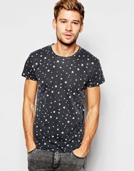 Esprit Burnout T Shirt With All Over Stars Print Black