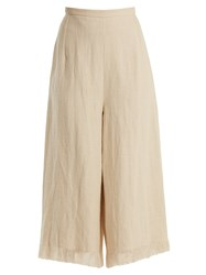 Andrew Gn Wide Leg Frayed Cuff Linen Cropped Trousers Beige