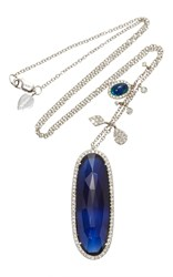 Meira T White Gold Blue Sapphire And Opal Diamond Charm Necklace