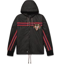 Gucci Appliqued Shell Hooded Jacket Black