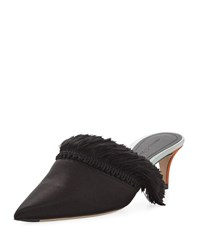 Marco De Vincenzo Satin Mule With Fringe Detail Black