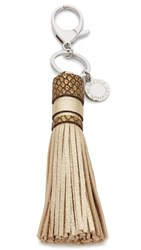 Rebecca Minkoff Metallic Pebbled Tassel Keyfob Gold