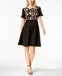 Sangria Petite Embroidered Fit And Flare Dress Black Blossom