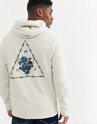 Huf Dystopia Hoodie With Back Print In Light Grey