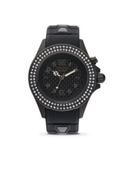 Kyboe Power Radiant Black Swarovski Crystal Black Stainless Steel And White Silicone Strap Watch 40Mm