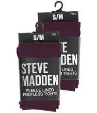Steve Madden 2 Pack Fleece Lined Footless Tight Eggplant Hose Purple