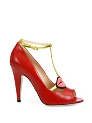 Gucci Molina Leather Lips T Strap Pumps Red
