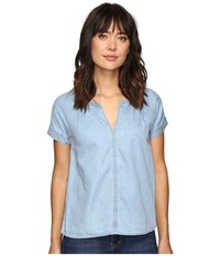 Calvin Klein Jeans Indigo V Popover Short Sleeve Woven Shirt White Weft Light Women's Short Sleeve Pullover Blue