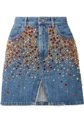Miu Miu Embellished Denim Mini Skirt Blue