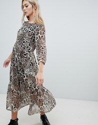 Soaked In Luxury Leopard Layered Midi Dress Multi