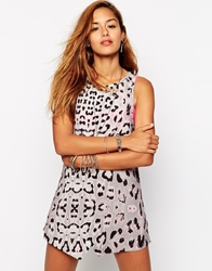 One Teaspoon Matisse Dress In Leopard Print Pink