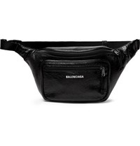 Balenciaga Explorer Logo Print Crinkled Leather Belt Bag Black