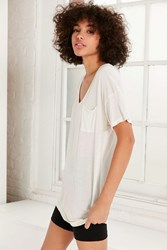 Truly Madly Deeply Slouchy Pocket Tee White