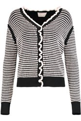 3.1 Phillip Lim Ruffle Trimmed Textured Knit Cardigan Black