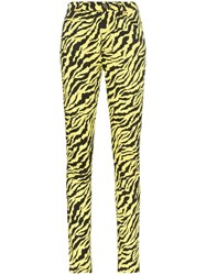 Gucci Tiger Stripe Cotton Blend Skinny Jeans Yellow