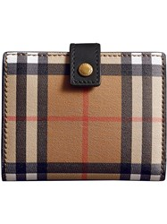 Burberry Small Vintage Check And Leather Folding Wallet Black