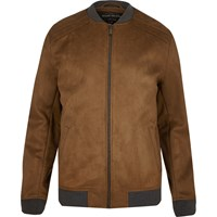 River Island Mens Light Brown Faux Suede Bomber Jacket
