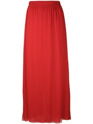 Emporio Armani Pleated Skirt Women Silk Polyester 42 Red