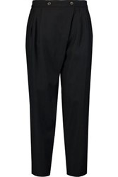 Marc By Marc Jacobs Wrap Effect Wool Blend Tapered Pants Black